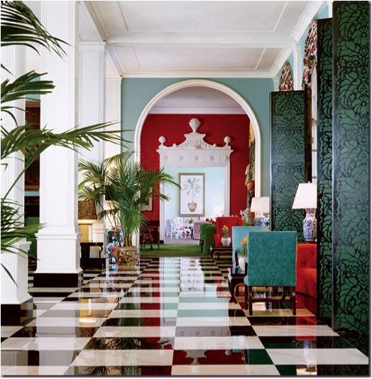 Dorothy Draper lobby at the Greenbrier as seen on The Hollywood Regency Files blog.
